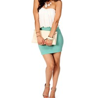White/Teal Strapless Short Dress