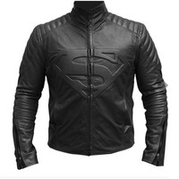 Superman Smallville Black Leather Biker Jacket, Superman Black Leather jacket, Superman Black Smallville Leather Jacket = 1946611716