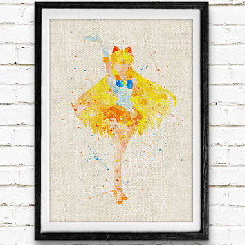 Sailor Venus Watercolor Art Print, Sailor Moon Room Wall Poster, Home Decor, Not Framed, Buy 2 Get 1 Free!