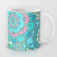Candy Doodles, floral doodles in pink and blue Mug by micklyn