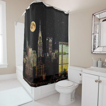 New York Skyline At Night With Full Moon Shower Curtain