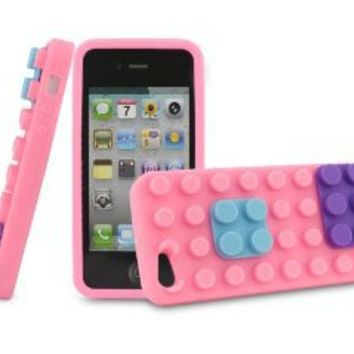 BONAMART ® Pink Building Block Soft Gel Rubber Silicone Back Cover Case for Apple iPhone 5 5G 5th