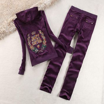 Juicy Couture Logo Sequin Velour Tracksuit 2125 2pcs Women Suits Purple