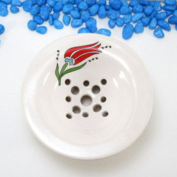 Ceramic soap dish, Ceramic soap holder, Pottery soap dish, Clay soap dish, Soap holder, Soap saver, Draining soap dish, Soap dish or ashtray