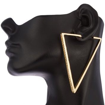 Goldtone Triangle with Stones Stud Earrings