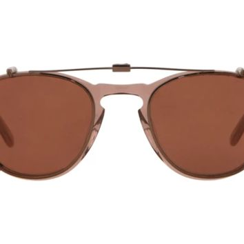 Garrett Leight - Hampton Clip M 44mm Bronze Clip-On Sunglasses / Copper Mirror Lenses