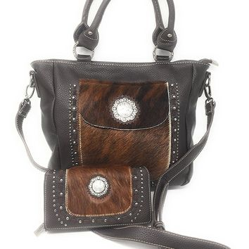 Set of Trinity Ranch Cowhide Hair On Partial Leather Concealed Carry Zip Top Shoulder Bag Tote Purse And Western Styling With Matching Wallet