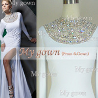 High Neck With Long Sleeve Beads Crystal White Prom Gown,Dresses ,Wedding Dress,Cocktail Dress,Dresses
