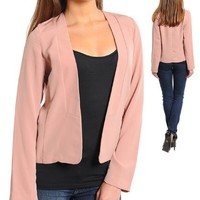 G2 Fashion Square Women's Open Front Solid Casual Jacket