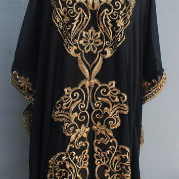 Beach Summer Party Dress, Long Kaftan Dress, Moroccan Dubai Caftan Dress, Abaya Kaftans, Full Gold Embroidery Black Caftan Dress