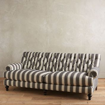 Suren-Striped Fan Pleat Sofa