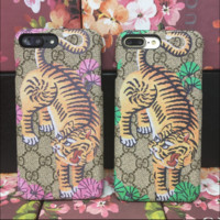 GUCCI Tiger Print Stripe iPhone Phone Cover Case For iphone 6 6s 6splus 7 7plus hard shell
