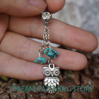 2013 NEW ARRIVAL  belly ring with alloy owl pendant