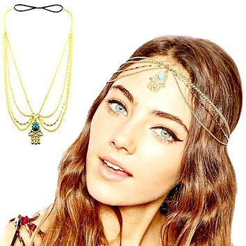 Vintage Gold Plated Turquoise Hair Chain / Headband