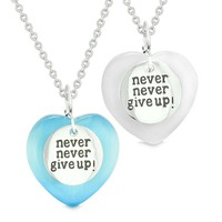 Amulets Never Give Up Love Couples or Best Friends Hearts Sky Blue White Simulated Cats Eye Necklaces