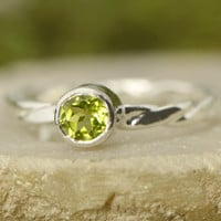 August Birthstone Ring - Gemstone Ring - Stacker Ring - Peridot Ring - Stacker Gemstone Ring - Birthstone Stacker Ring - Green Gemstone