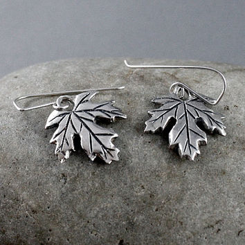 Sterling silver Maple Leaf earrings. Made in Canada. Artisan jewelry