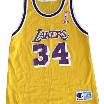 Vintage throwback Los Angeles Laker Shaquille O'neal Shaq NBA Jersey Women Men Unisex