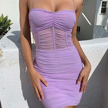 Pleated mesh suspender dress PURPLE