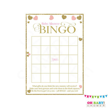 Pink and Gold Baby Shower Games, BINGO Baby Shower Game, Baby Bingo Game, Pink and Gold Hearts, Bingo Printable, Girl, Bingo Card, PGH