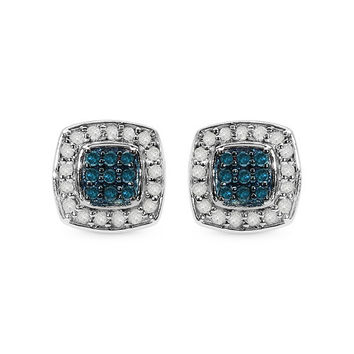 0.29 Carat Genuine Blue Diamond & White Diamond .925 Sterling Silver Earrings