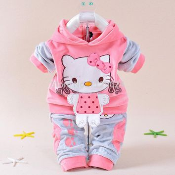 New Baby Winter Clothing Sets Hello Kitty Hooded Coat+ Pant  Twinset Long Sleeve Velvet Thick Newborn Clothes Infants Costume
