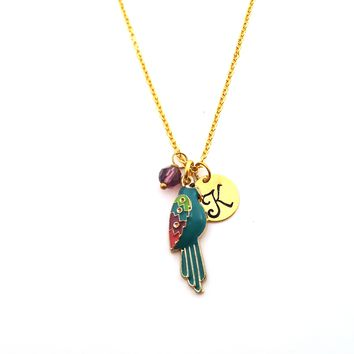 Enameled Parrot Gold Initial Personalized Necklace