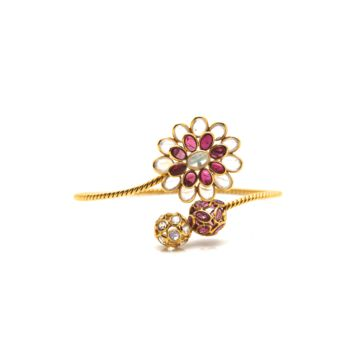 Tresor Collection - Rainbow Moonstone & Pink Tourmaline Bangle in 18k  Yellow Gold