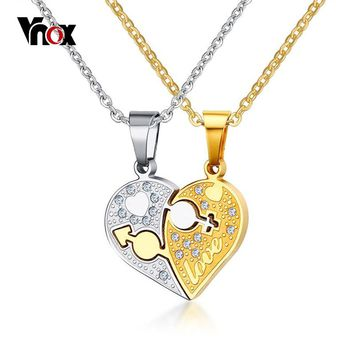 """Vnox Rhinestone Charm Pendant Necklace Love Heart Shaped 20"""" O Link Chain Necklace Gift Jewelry Accessories Silver Gold-Color"""