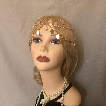 20's style GOLD Muli-Color Drops Rhinestone Headchain Headpiece Head piece Gatsby 1920s Goddess Princess Cosplay Crown (940)