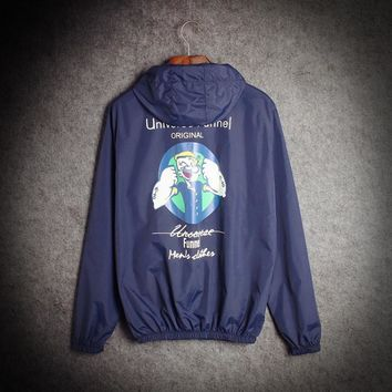 The new tide brand Popeye ultra - thin models men and women couple windbreaker trend of the sun clothing jacket classes Blue