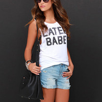 White LATER BABE Graphic Tank