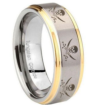 10MM Step Edges Multiple Skull Pirate 14K Gold IP Tungsten Two Tone Men's Ring