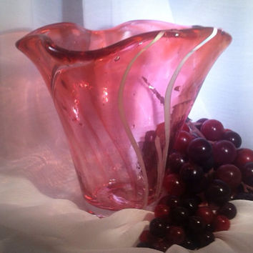 Hand Blown Glass Freeform Vase with Swirls. Valentine Gift Idea