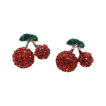 Pinup Girl Cherry Love Red Crystal Earrings - Fruit Earrings
