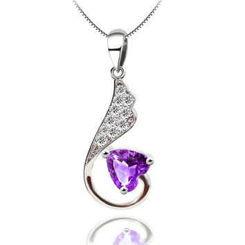 925 Sterling Silver Heart Amethyst Pendant Necklace