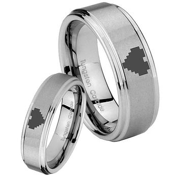 His and Hers Step Edge Zelda Heart Tungsten Silver Wedding Rings Set