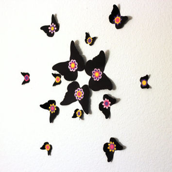 Die Cut Flower Butterflies,Wall Decor,3d Butterflies,butterfly wall decal,butterfly wall art,paper butterflies,butterfly