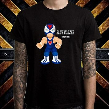 Blue Blazer Owen Hart Cartoon Logo Men's Black Wrestling T-Shirt