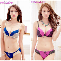 New 2016 Intimates VS Bra Set lace lingerie push up Sexy Bra Set hot women underwear gathering bra + panty set embroidery H018