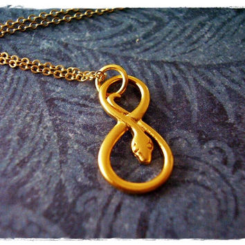 Gold Infinity Snake Necklace - Gold Dipped Infinity Snake Charm on a Delicate 18 Inch 14kt Gold Filled Cable Chain
