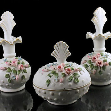 Vanity Set, Lefton Bone China, Powder Box, Two Perfume Bottles, Raised Roses, 842