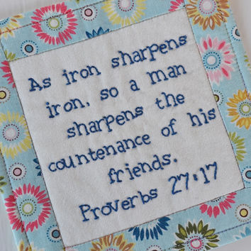 Religious Coaster - Mug rug - Bible Verse - Scripture - As Iron Sharpens Iron - Proverbs 27 - Fellowship - Light Blue - Flowers