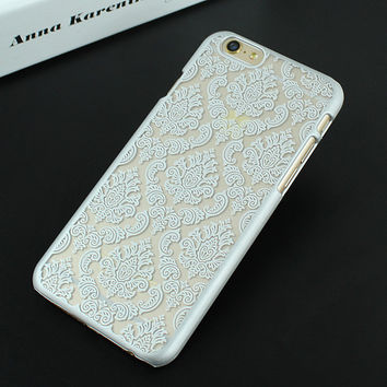 Silver Luxury Hard Plastic Damask Vintage Flower Pattern Back Case Cover for iPhone 4 4s 5 5s SE 6 6s 6 Plus 6s Plus 7 & 7 Plus