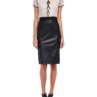 Women's Short Sleeve Lace and Leather Cocktail Dress - Catherine Deane - Black/Almond (14)
