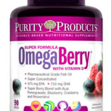 Purity Products Omega Berry Fish Oil with Vitamin D3 & Organic Acai - 60 Softgels