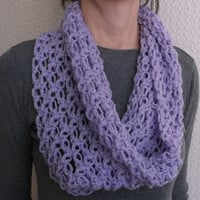 Shoulder Warmer, Lace Lavender Infinity Scarf, Crochet, Chunky Cowl Scarf
