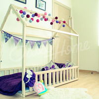 Toddler bed, house bed, children bed, frame bed, kid nursery bed, floor bed, Montessori furniture, play bed, tent bed -fence, SLATS