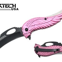 "Wartech YC-S-8376-PK 8"" Assisted Open Folding Tactical Pocket Knife with Pink Skull Angel Design Handle"