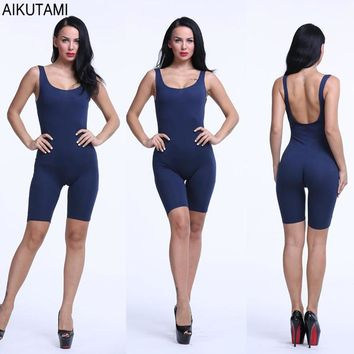 Solid Jumpsuit Sport Set Workout Clothes for Women Breathable Elastic Opaque Cotton Fitness Sets Gym Calf-Length Sportswear